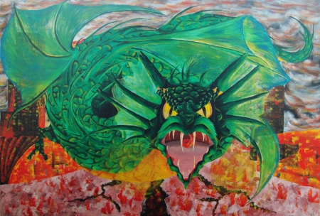 Oil painting of a green Dragon flying over a burning plaza.
